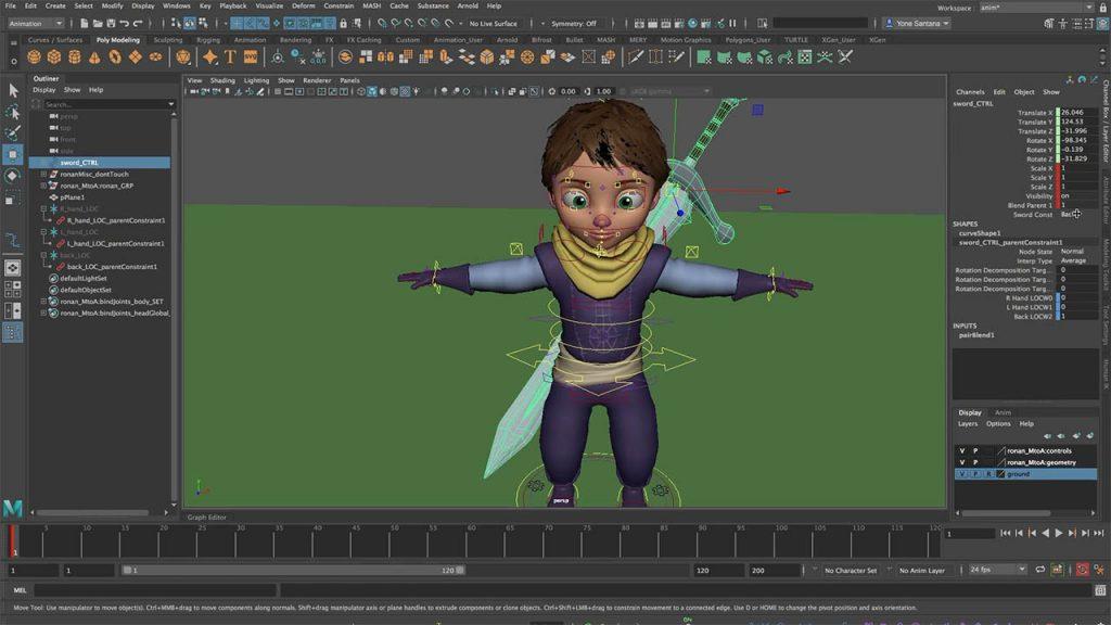 Maya游戏人物动画教程 Maya角色骨骼绑定权重分配