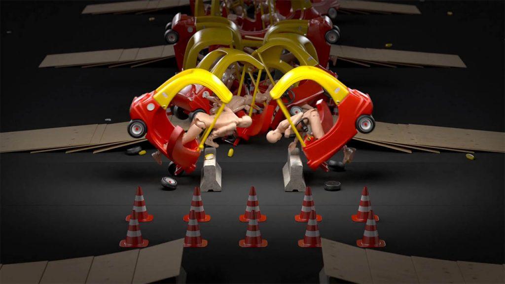 C4D碰撞动画教程 Cinema 4D卡通汽车无限循环碰撞场景动画制作