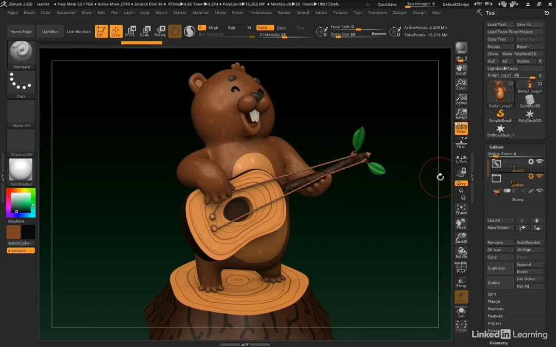 ZBrush Modeling a Cartoon Character – Lynda Artstation by Michael Pavlovich